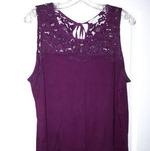 2/$20 Reitmans gorgeous plum lace sleeveless tank